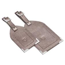 Set of 2 Luggage Tags in Gunmetal Saffiano