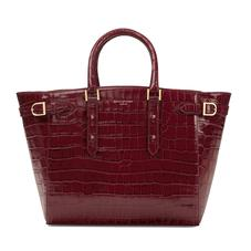 Large Marylebone Tech Tote in Deep Shine Bordeaux Croc