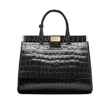 Large Florence Snap Bag in Deep Shine Black Croc