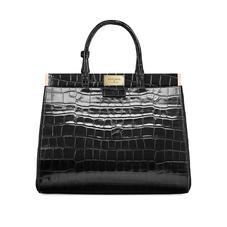 Large Florence Snap Bag in Deep Shine Black Croc