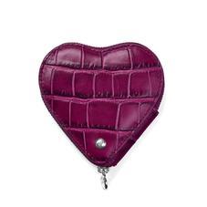 Heart Coin Purse in Purple Croc