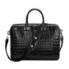 Small Mount Street Bag in Deep Shine Black Croc