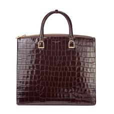 Editor's Tote in Deep Shine Amazon Brown Croc