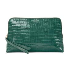 Large Essential Cosmetic Case in Deep Shine Sage Small Croc