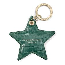 Star Keyring in Deep Shine Sage Small Croc