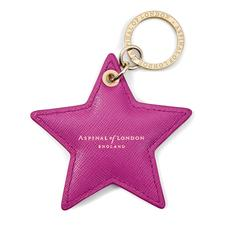 Star Keyring in Orchid Saffiano