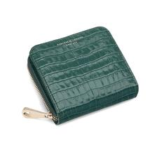 Mini Continental Zipped Coin Purse in Deep Shine Sage Small Croc