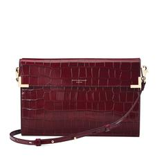 Editor's Clutch in Deep Shine Bordeaux Croc