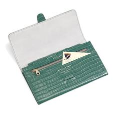 Classic Travel Wallet in Deep Shine Sage Small Croc