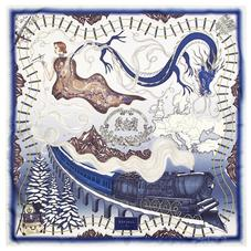 Murder on the Orient Express Silk Scarf in Midnight Blue (35