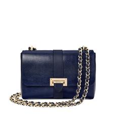 Large Lottie Bag in Midnight Blue Lizard