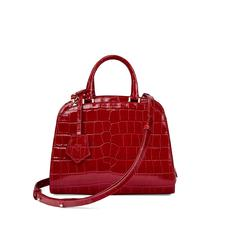 Mini Hepburn Bag in Deep Shine Red Croc