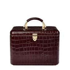 Aspinal Vanity Case in Deep Shine Amazon Brown Croc