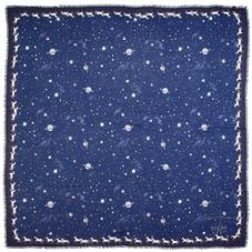 Pegasus Constellation Cashmere Blend Scarf in Midnight Blue (55