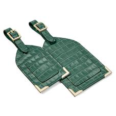 Set of 2 Luggage Tags in Sage Small Croc