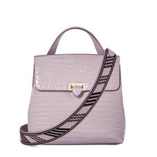 Soho Backpack in Deep Shine Lilac Small Croc with Deco Embroidered Strap