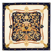 Signature Silk Twill Scarf in Navy (27.5