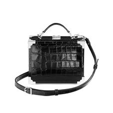 Mini Trunk Clutch in Deep Shine Black Croc with Silver Hardware