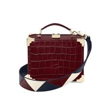 Mini Trunk Clutch in Deep Shine Bordeaux Croc with Zig Zag Strap