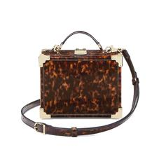 Mini Trunk Clutch in Deep Shine Tortoiseshell Patent