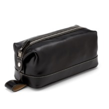 Men's Leather Wash Bag in Smooth Black. Mens Toiletry & Wash Bags from Aspinal of London