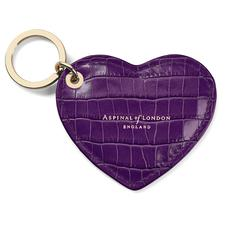 Heart Key Ring in Deep Shine Amethyst Small Croc
