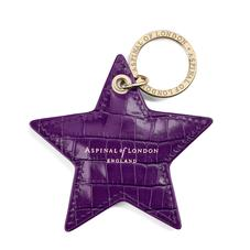 Star Keyring in Deep Shine Amethyst Small Croc