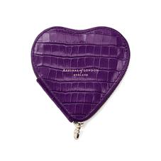 Heart Coin Purse in Deep Shine Amethyst Small Croc