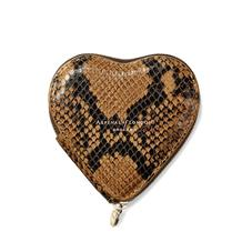 Heart Coin Purse in Mustard Python Print