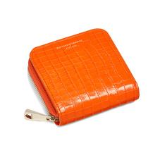 Mini Continental Zipped Coin Purse in Deep Shine Amber Small Croc