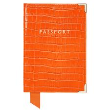 Passport Cover in Deep Shine Amber Small Croc
