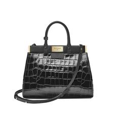 Small Florence Snap Bag in Deep Shine Black Croc & Smooth Black