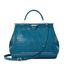 Large Florence Frame Bag in Deep Shine Topaz Small Croc
