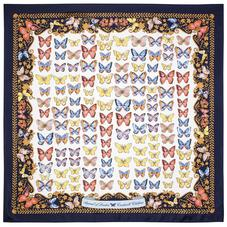 Aspinal x Caudwell Children (Butterflies Silk Scarf in Navy)
