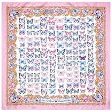 Aspinal x Caudwell Children (Butterflies Silk Scarf in Pink)