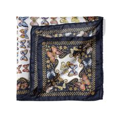 Aspinal x Caudwell Children (Butterflies Silk Pocket Square in Navy)