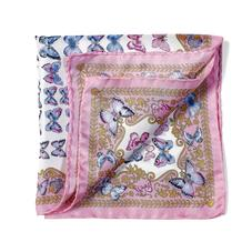 Aspinal x Caudwell Children (Butterflies Silk Pocket Square in Pink)