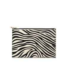Large Essential Flat Pouch in Zebra Haircalf & Black Polish