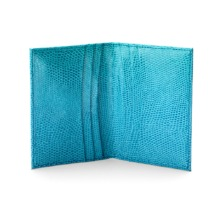 Double Fold Credit Card Case in Turquoise Lizard. Business & Credit Card Holders from Aspinal of London