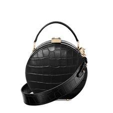 Mini Hat Box Bag in Deep Shine Black Croc