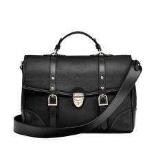 Large City Mollie Satchel in Black Pebble