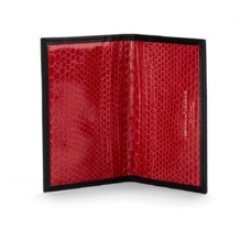 Exotic Double Credit Card Case in Black with Red Snake. Business & Credit Card Holders from Aspinal of London