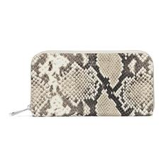 Continental Clutch Zip Wallet in Embossed Natural Python