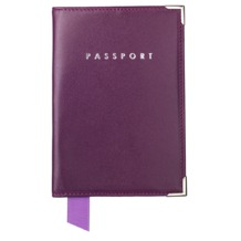 Plain Passport Cover in Smooth Violet. Leather Passport Covers from Aspinal of London