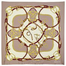 Horseshoe Silk Scarf in Soft Taupe and Gold