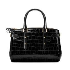 Brook Street Bag in Black Croc with Gold Hardware