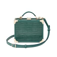 Mini Trunk Clutch in Deep Shine Sage Small Croc