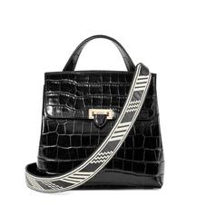 Soho Backpack in Deep Shine Black Croc with Deco Embroidered Strap