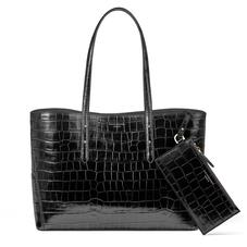 Regent Tote in Black Croc (with A-Stitched Side Panels)