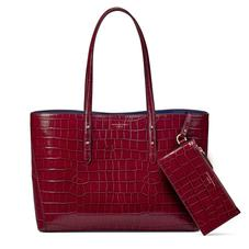 Regent Tote in Bordeaux Croc (with A-Stitched Side Panels)